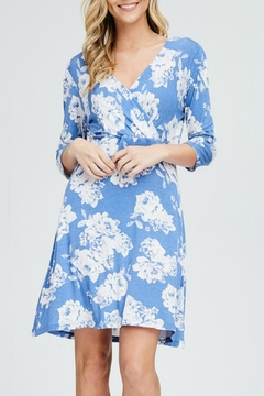 Papermoon Blue Floral Wrap-Dress - Product List Image