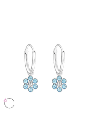 Silver Jewels Blue Flower Sterling Silver Hoop Earrings - Product Mini Image