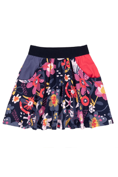 Deux Par Deux Blue Flowers Skirt With Contrast Pockets - Product List Image