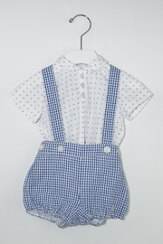Dolce Petit Blue Gingham Romper - Front cropped