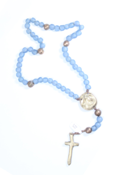 Shoptiques Product: BLUE GLASS ROSARY WITH BRONZE GUADALUPE