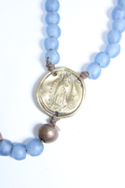 The Birds Nest BLUE GLASS ROSARY WITH BRONZE GUADALUPE - Front full body