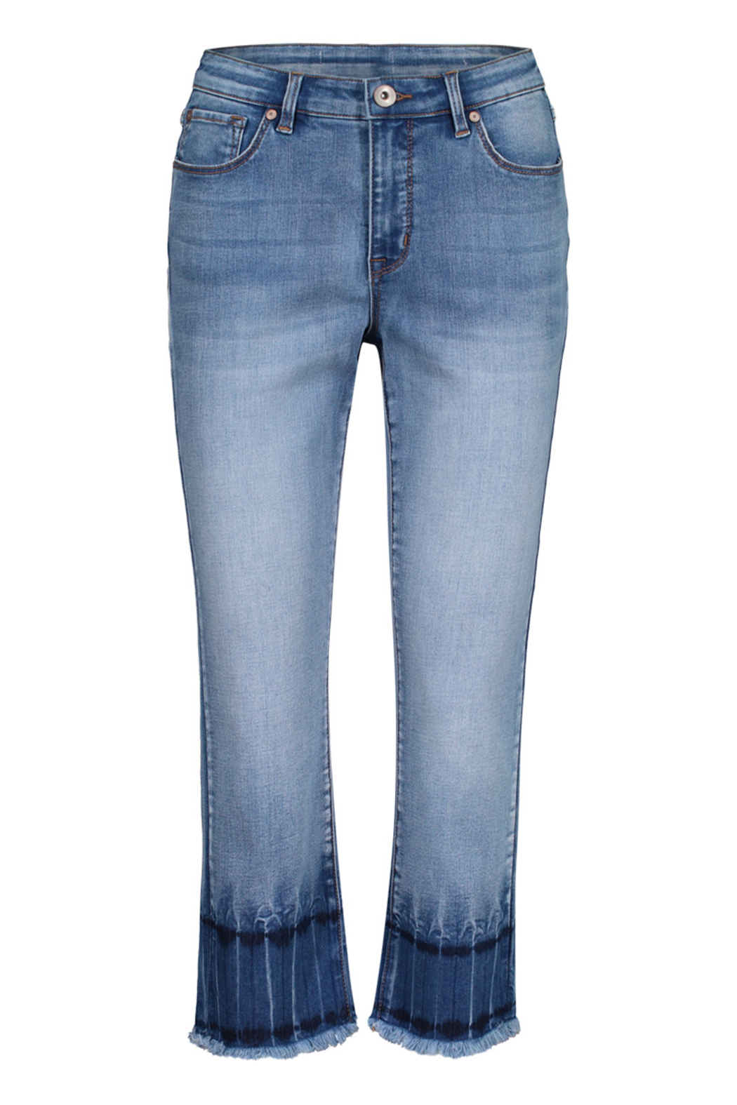Tribal Jeans Blue Glow Ankle Jeans - Front Cropped Image