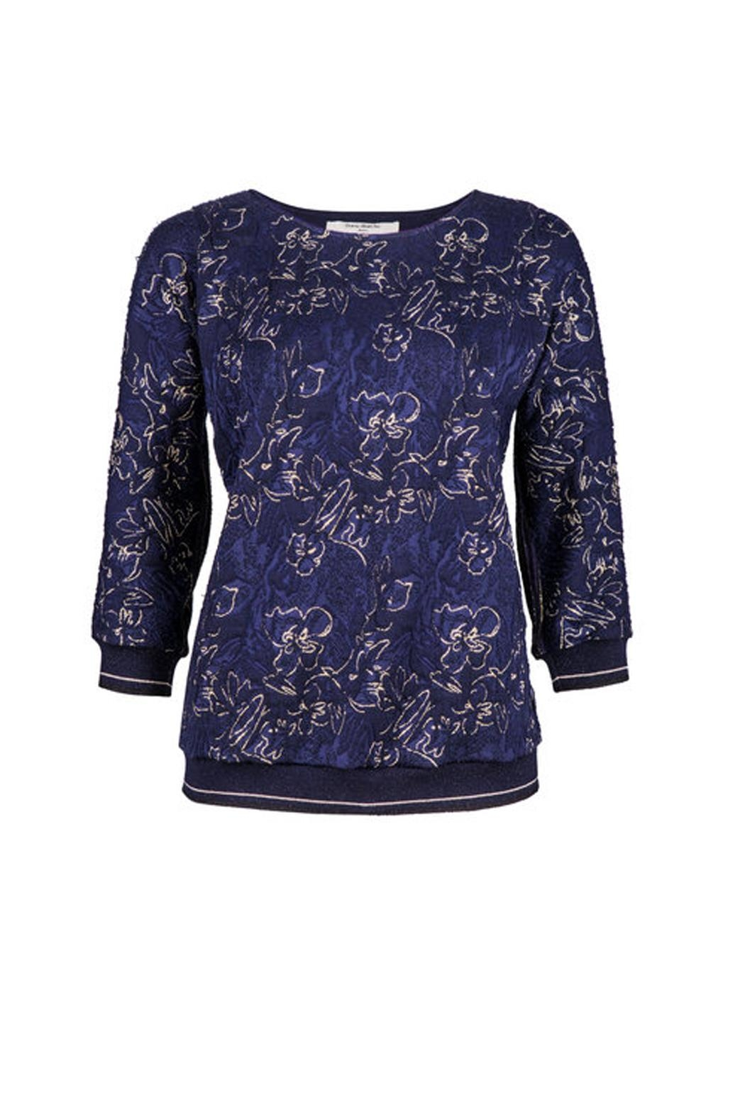 Dame Blanche Anvers Blue/gold Sweater - Side Cropped Image