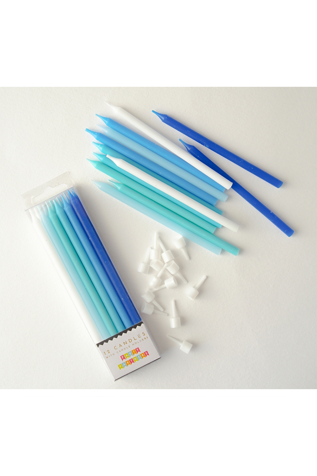 Party Partners Blue Gradient Candles - Set Of 12 - Front Full Image