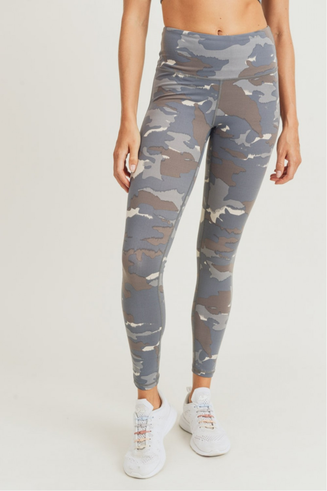 Mono B Blue Grey Camo Leggings - Front Cropped Image
