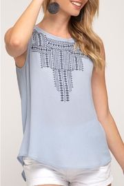 She + Sky Blue Grey Embroidered - Front cropped