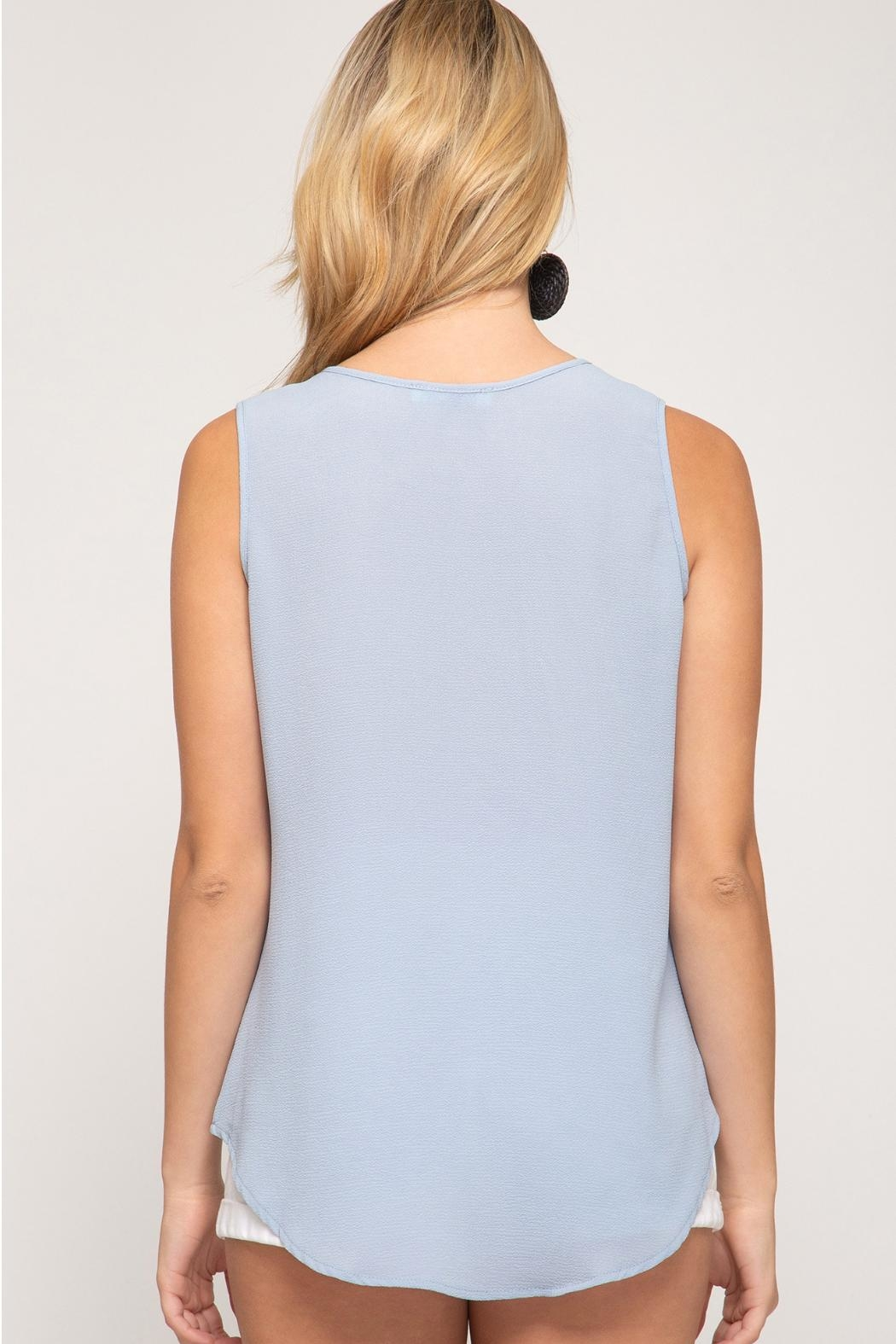 She + Sky Blue Grey Embroidered - Front Full Image