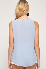 She + Sky Blue Grey Embroidered - Front full body