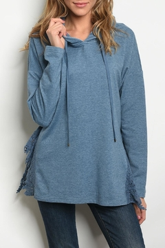Shoptiques Product: Blue Hooded Sweatshirt