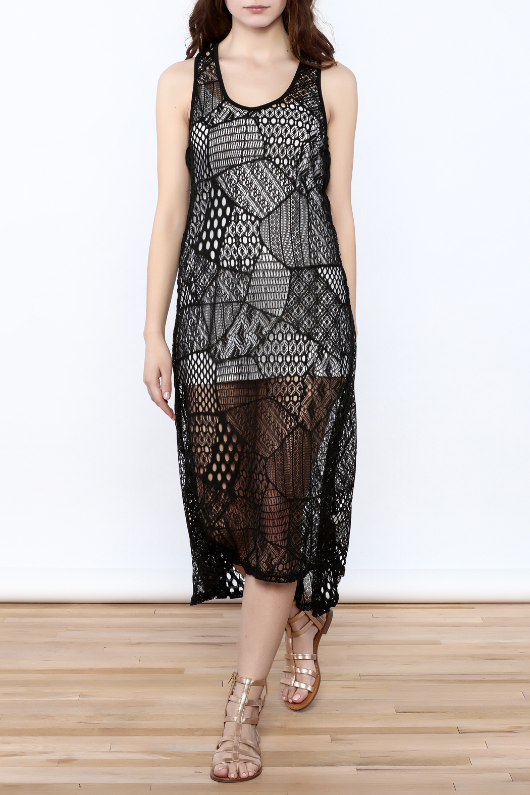 Blue Island Netted Sleeveless Dress - Main Image