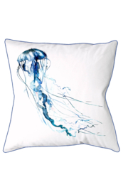 Rightside Design Blue Jellyfish Embroidered Indoor/outdoor Pillow - Front cropped