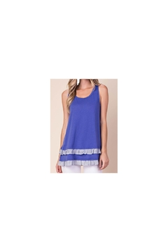 KORI AMERICA Blue knit sleeveless top with striped ruffle accents and caged back - Product List Image