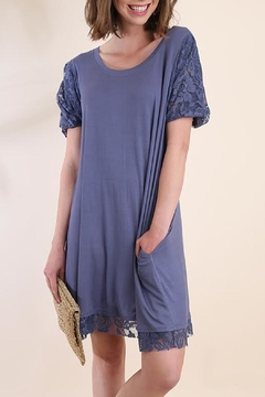 Shoptiques Product: Blue Lace-Sleeve Dress