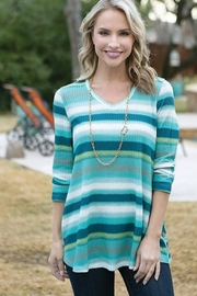 Multiples Blue Lagoon Stripe Tunic - Front cropped