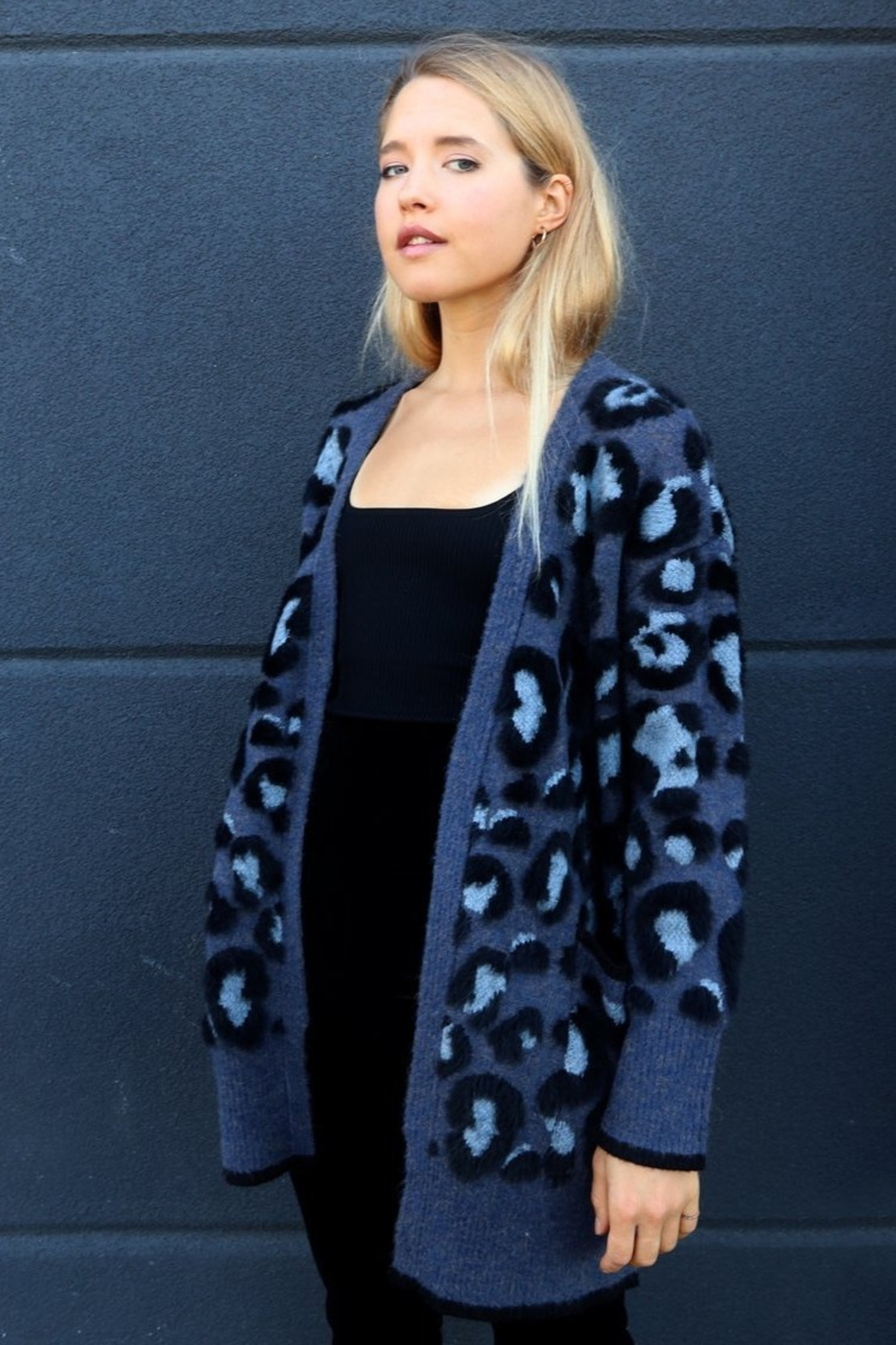 RD Style BLUE LEOPARD CARDIGAN - Front Full Image