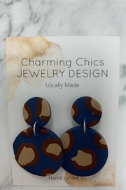 Charming Chics Blue Leopard Earrings - Product Mini Image