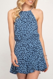 She + Sky Blue Leopard Romper - Product Mini Image