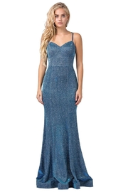 DANCING QUEEN Blue Metallic Fit & Flare Long Formal Dress - Product Mini Image