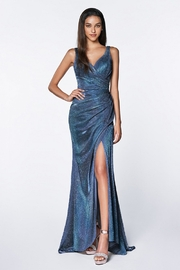 Cinderella Divine Blue Metallic Ruched Fit & Flare Long Formal Dress - Product Mini Image