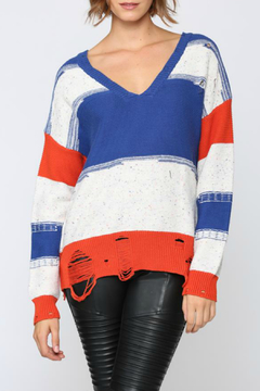 Shoptiques Product: Blue multi distressed sweater