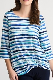 Joseph Ribkoff blue multi scoop neck tunic - Product Mini Image