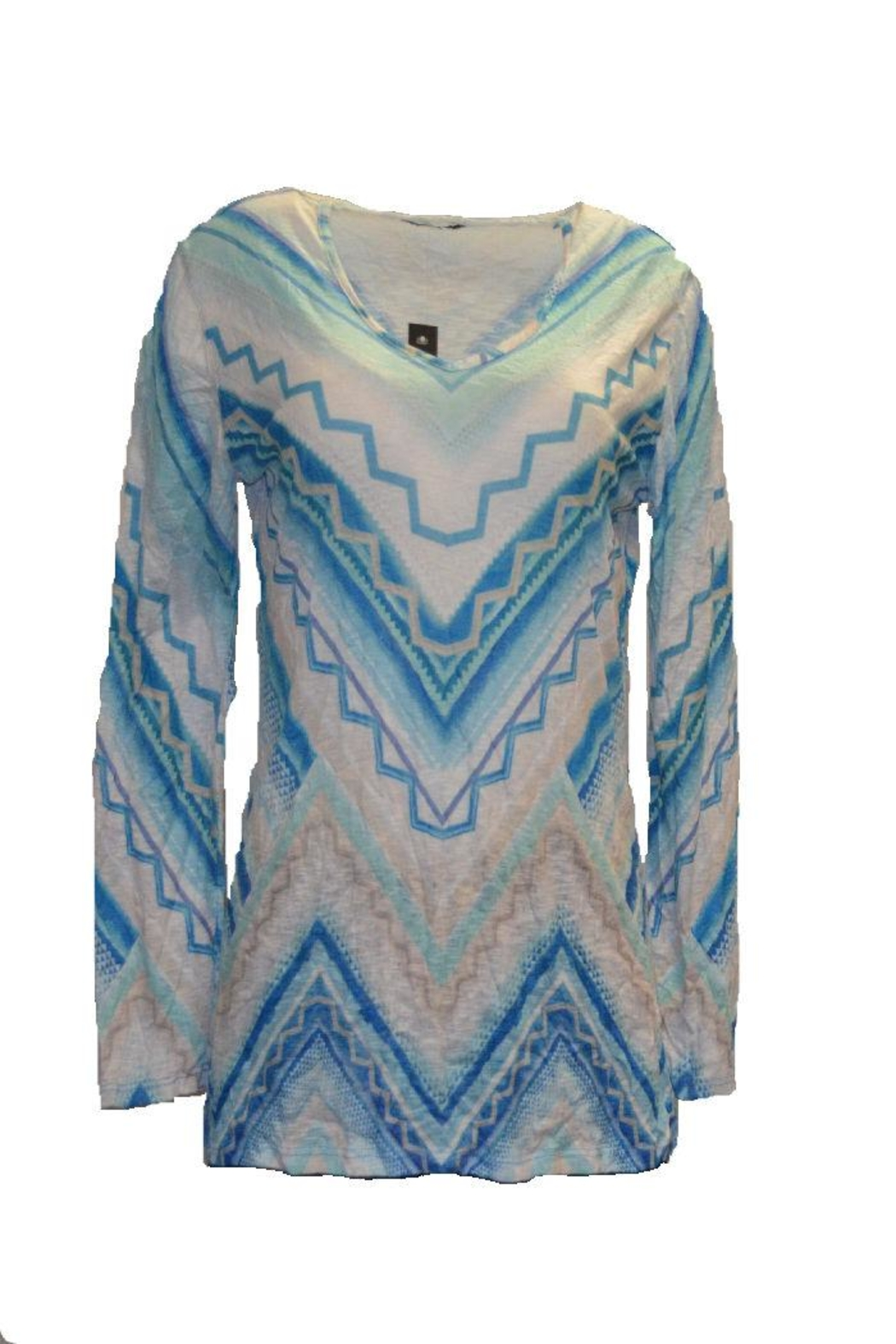David Cline Blue Multicolored Top - Front Cropped Image