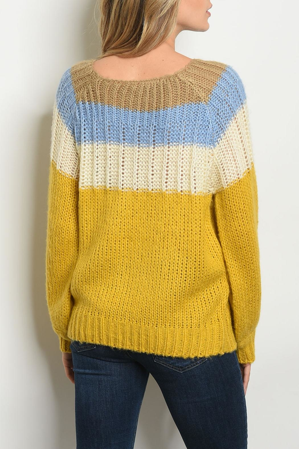 O & O Blue Mustard Sweater - Front Full Image