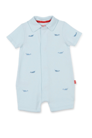 Magnetic Me Blue Narwhal Polo Romper - Front cropped