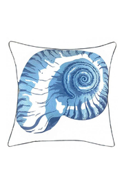 RIGHT SIDE DESIGN Blue Nautilus Shell Pillow - Outdoor Sunbrella - Product Mini Image