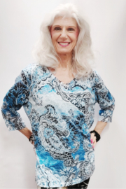 Zuriel Blue Paisley Rhinestone Detailed Top - Front cropped