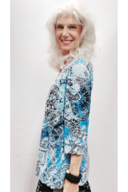 Zuriel Blue Paisley Rhinestone Detailed Top - Side cropped