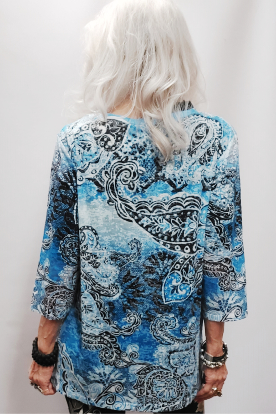 Zuriel Blue Paisley Rhinestone Detailed Top - Back Cropped Image