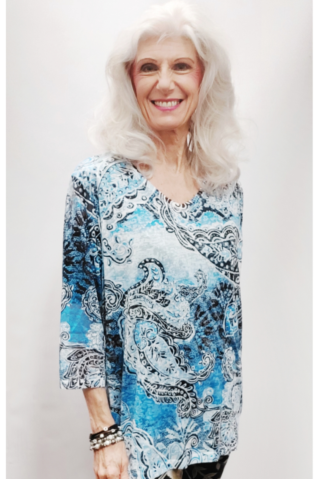 Zuriel Blue Paisley Rhinestone Detailed Top - Front Full Image