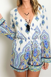 People Outfitter Blue Paisley Romper - Product Mini Image