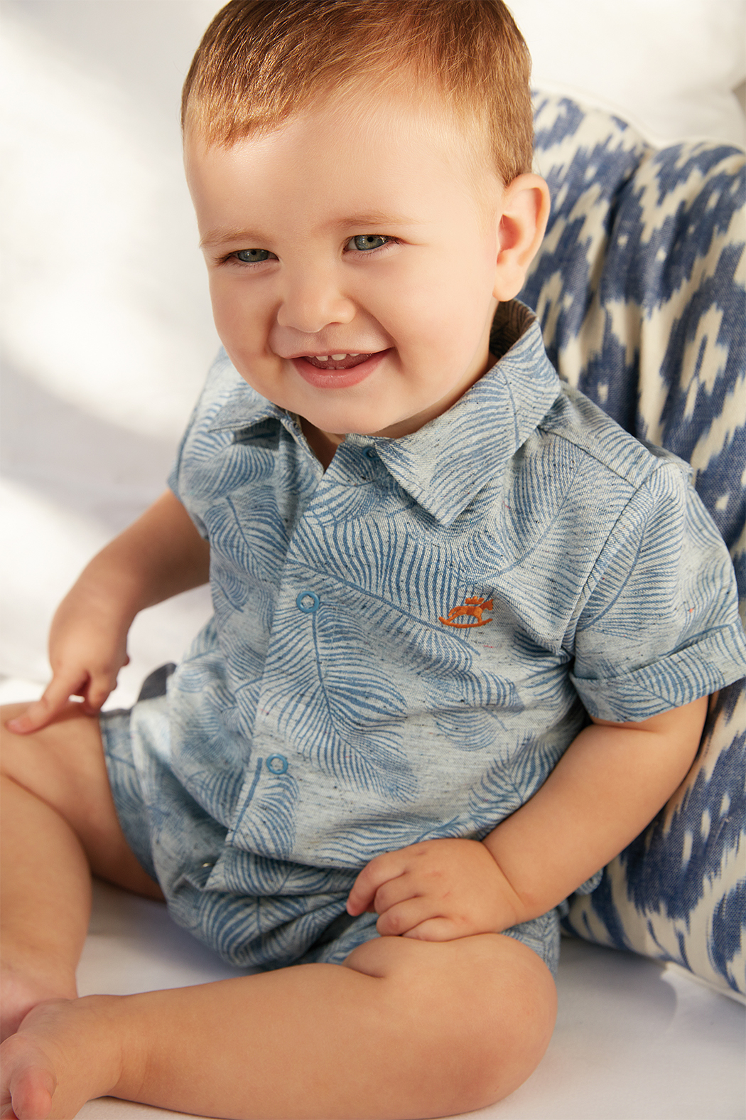 Up Baby Blue Palm Chambray One-Piece - Main Image