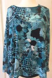 Joseph Ribkoff  blue patterned cape like top - Product Mini Image