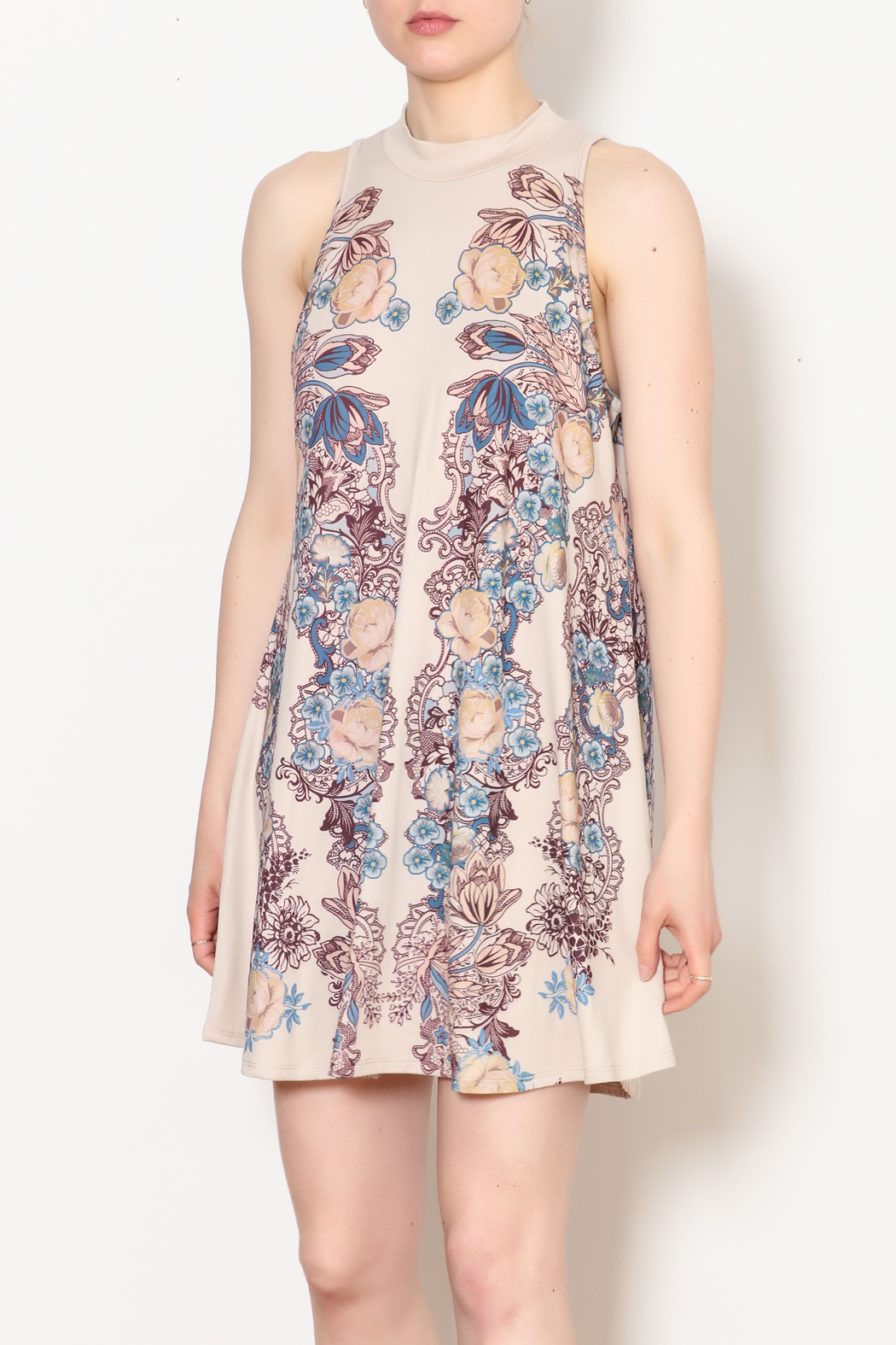 Blu Pepper Blue Pepper Taupe Floral Dress - Front Cropped Image