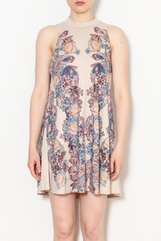 Blu Pepper Blue Pepper Taupe Floral Dress - Front full body
