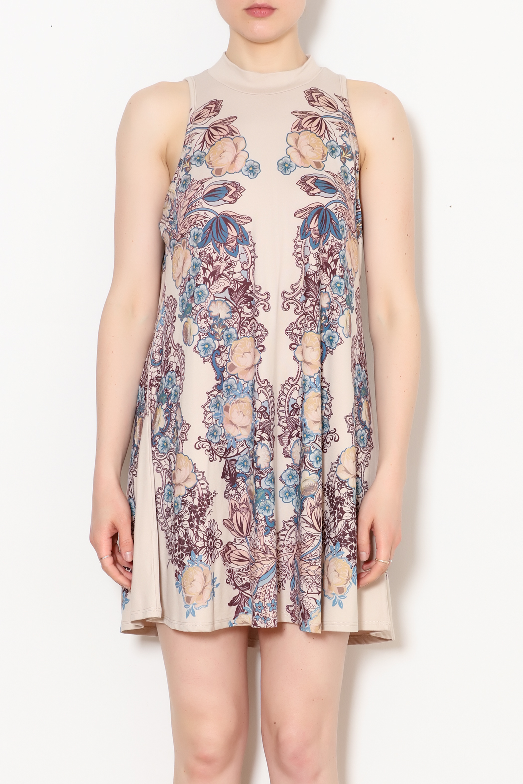Blu Pepper Blue Pepper Taupe Floral Dress - Front Full Image