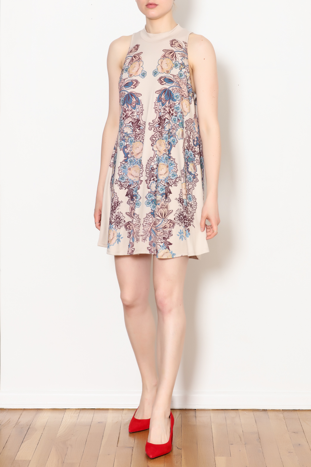 Blu Pepper Blue Pepper Taupe Floral Dress - Side Cropped Image