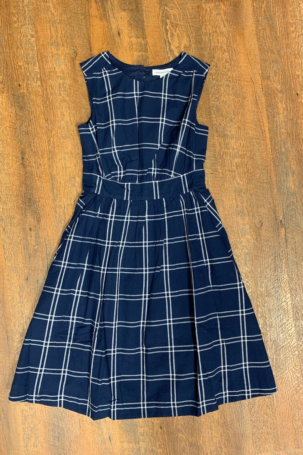 Emily & Fin Blue Plaid Dress - Main Image