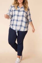 Yest Blue Plaid Long Sleeve Top - Product Mini Image