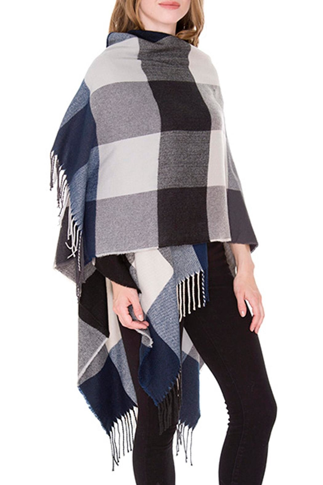 Wild Lilies Jewelry  Blue Plaid Poncho - Front Full Image
