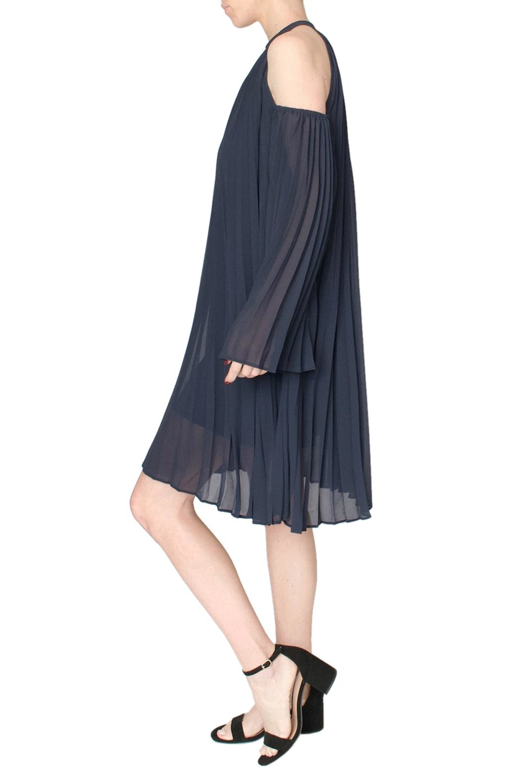 Jovonna  Blue Pleated Dress - Front Full Image