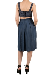 Birds of North America Blue Pleated Skirt - Front full body