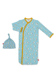 Magnetic Me Blue Plovers Modal Gown and Hat - Front cropped