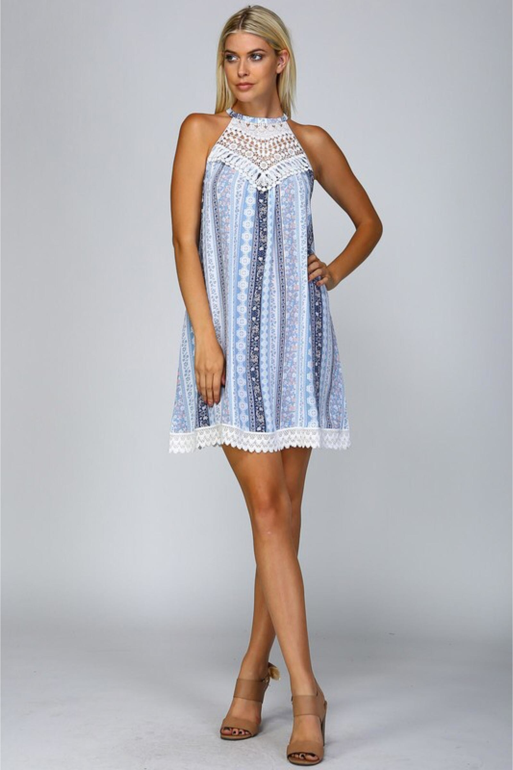 People Outfitter Blue Print Dress - Front Full Image