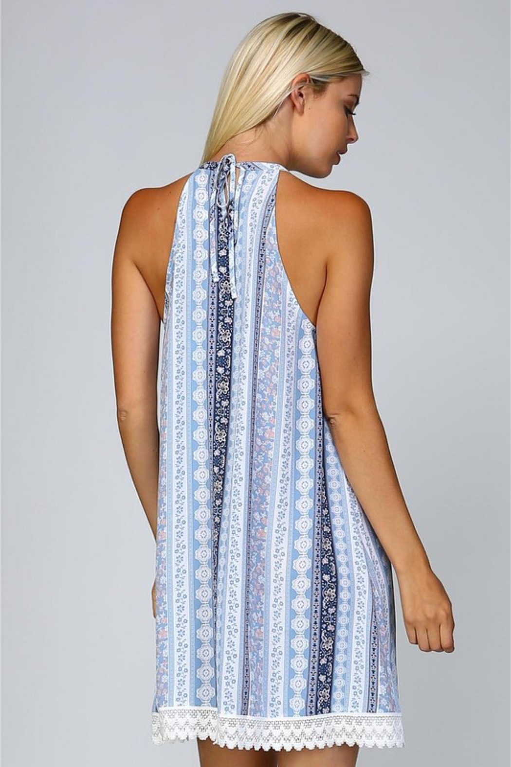 People Outfitter Blue Print Dress - Side Cropped Image