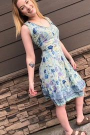 Back in Love Blue print gauze dress with border trim - Product Mini Image